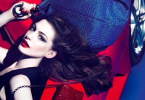 anne hathaway, model, actress, dark hair, sensual lips, bag, car, face, portrait, fashion