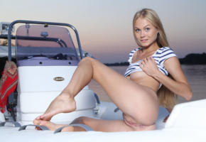 nancy a, jane f, erica, blonde, boat, bottomless, shaved pussy, labia, ass, boobs, smile, hi-q, nancy ace