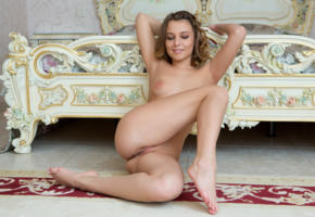nikia a, pussy, shaved pussy, naked, boobs, tits, breast, sexy, hot, model, all natural, hi-q, smile, brunette, legs, bed, feet
