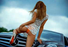model, blonde, back, ass, car, mercedes, no nude, stiletto, outdoors