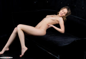 nikia a, naked, sofa, boobs, tits, breast, sexy, model, hot, brunette, hi-q, smile, legs, hands, all natural