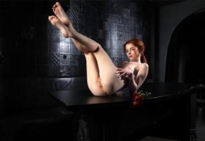 alison fox, martha gromova, model, redhead, young, legs up, legs, tip toes, pussy, shaved pussy, labia, anus, ass, rose, red rose, nude