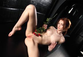 alison fox, martha gromova, model, redhead, tits, open legs, pussy, shaved pussy, labia, legs, red rose, rose, nude, boobs