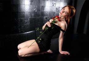 alison fox, martha gromova, model, redhead, black dress, dress, red rose, rose, beautiful, 4k, no nude