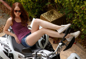 alice may, model, belarus, redhead, smile, sunglasses, jeans, shorts, legs, outdoors, no nude, quad-bike