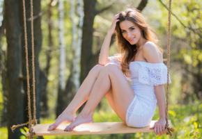 cara, swing, brunette, smile, dress, white dress, legs