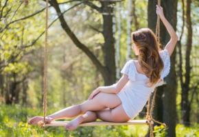cara, swing, nature, cara mell, brunette, dress, white dress, legs, ass