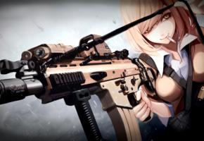 girl, blonde, cigarette, gun machine, anime