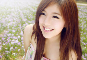 young girl, model, brunette, posing, outside, smile, flowers, asian, zhao yihuan