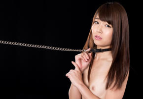asian, young girl, nude, collar, chain, brunette, fetish, small tits
