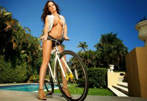 rebecca lynn, tits, bicycle, pool, water, stairs, palm trees, outdoors, hottie, heels, low quality, boobs