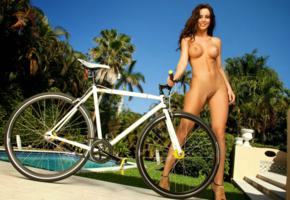rebecca lynn, nude, outdoors, sexy, playboy, bicycle, long hair, grass, pool, pussy, tits, shaved, low quality