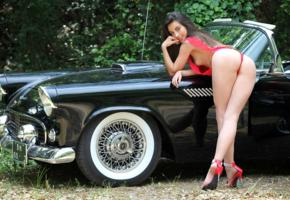 lorena garcia, lorena, lorena b, brunette, semi nude, car, thunderbird, ass, tits, high heels, smile, ford