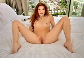 rachelle lefevre, actress, redhead, legs spread, pussy, shaved, feet, smile, spreading legs, shaved pussy, labia, boobs, fake