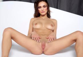 keira knightley, actress, brown hair, nude, fake, spread legs, shaved pussy, labia, tits, boobs