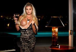 piano, blonde, glass, sexy, tahlia paris, boobs, big tits, tanned, wine glass, black dress, dress, undressing