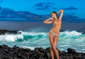 caprice, little caprice, marketa, caprice a, brunette, bikini, topless, beach, waves, tits, puffy nipples, smile, sea
