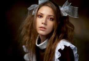 ksenia kokoreva, model, pretty, brunette, sensual lips, face, portrait, schoolgirls