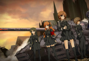girls, asian, panzer, anime, tank, uniform