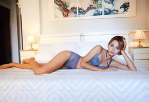 lilit a, model, blue bra, bra, blue panties, panties, bed, bedroom, lingerie, no nude, lingerie series, pillows