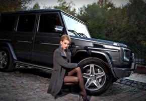 model, russian, blonde, skirt, nylons, stilettos, mercedes, g55 amg, car, fashion, g klasse