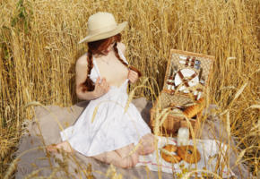 jia lissa, redhead, pigtails, outdoors, wheat, field, picnic, dress, topless, small tits, hat, hi-q, non nude