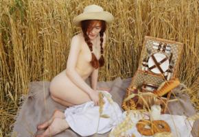 jia lissa, redhead, pigtails, hat, wheat, field, picnic, undressing, dress, naked, small tits, ass, hi-q, tits