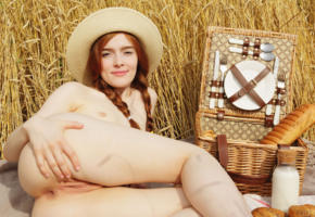 jia lissa, redhead, pigtails, hat, outdoors, wheat, field, picnic, naked, small tits, shaved pussy, labia, ass, anus, smile, hi-q