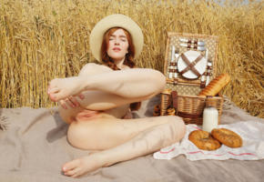 jia lissa, redhead, hat, outdoors, wheat, field, picnic, naked, landing strip, shaved pussy, labia, ass, anus, spread legs, hi-q