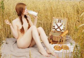 lia lissa, redhead, pigtails, outdoors, wheat, field, picnic, milk, drinking, small tits, hi-q, tits