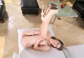 alice march, model, pretty, babe, blue eyes, blonde, legs up, legs, pussy, shaved pussy, labia, anus, ass, panties, platform high heels, stilettos, sofa, nude