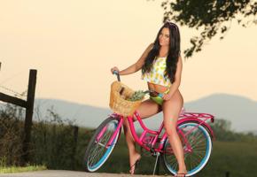 barbara desiree, bike, fence, model, sexy, brunette, shirt, sunglasses, flipflops, bikini bottom
