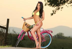 barbara desiree, bicycle, outdoors, bikini, model, fence, sunglasses, pink, long hair