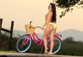 barbara desiree, outdoors, topless, bike, model, sexy, bikini bottom, sunglasses, fence, brunette, tanned