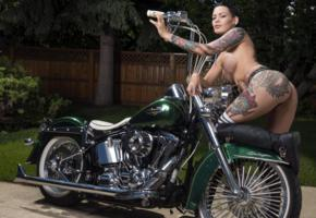 darcy diamond, brunette, harley davidson, motorcycle, panties, naked, big tits, nipples, tattoos, knee socks, leather, boots, hi-q, tattoo