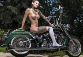 darcy diamond, brunette, harley davidson, motorcycle, naked, big tits, nipples, tattoos, knee socks, hi-q, tattoo