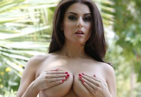 charlotte springer, brunette, sexy, beauty, breasts, tits, close up, boobs, big tits, handbra