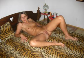 amateur, bedroom, shaved pussy, tits, pussy, labia, spreading legs, tanned, bed