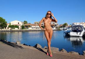 katya clover, clover, mango, mango a, brunette, boat, water, naked, tanned, tits, nipples, shaved pussy, smile, sunglasses, hi-q
