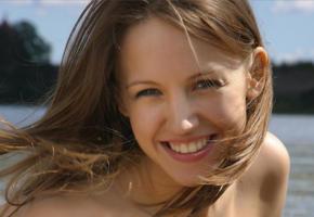 alisa, model, brunette, face, smile