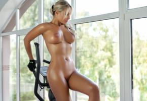maria, blonde, model, sexy, tits, standing, elliptic trainer, close up, naked, gloves, boobs, big tits, shaved pussy, tanned, oiled