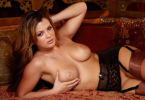 keisha grey, brunette, model, girl, porn star, sexy, tits, close up, gartel belt, stockings, lying, boobs, big tits