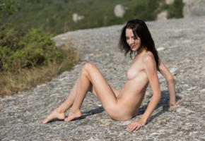 adel, adel morel, sexy girl, adult model, brunette, nude, outdoor, naked, legs, feet, nature, tits