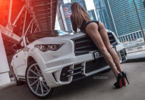 photographer, alex bazilev, heels, legs, ass, car, bodysuit, panties, tanned, long legs, high heels, erotic, ass wallpaper