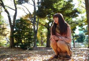 rei mizuna, model, cute, fascinating eyes, brunette, asian, autumn, legs, pantyhose, panties