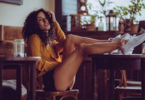 luca miklosi, sexy girl, adult model, chica, legs, smile, sexy legs, brunette, curly