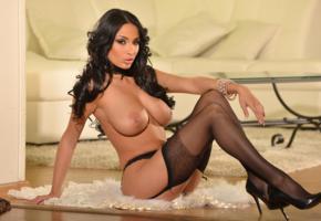 anissa kate, black hair, model, porn star, sexy, tits, legs, stockings, gartel belt, heels, bracelet