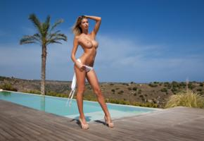 claudia, sexy, beauty, model, girl, legs, tits, heels, pool, tanned, big tits, boobs, oiled, topless