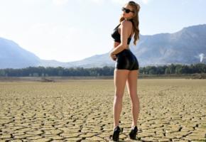 heather, model, girl, legs, heels, sunglasses, standing, desert
