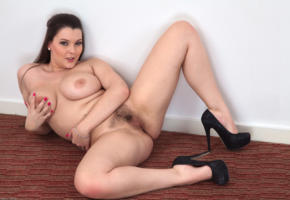 pussy, bush, hairy, haired pussy, labia, tits, boobs, brunette, cherry blush, spreading legs